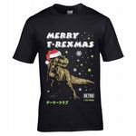 Premium Funny Merry T-Rexmas Christmas T-rex Dinosaur Dino with Santa Hat Motif Men's Black T-shirt